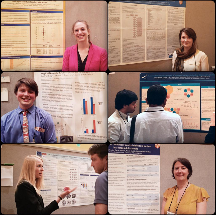 From top left, clockwise: Alexa Pohl, Emily Ruzich, Varun Warrier, Paula Smith (presenting for Florina Uzefovsky), Dorothea Floris, and Jan Freyberg, presenting work at IMFAR 2015