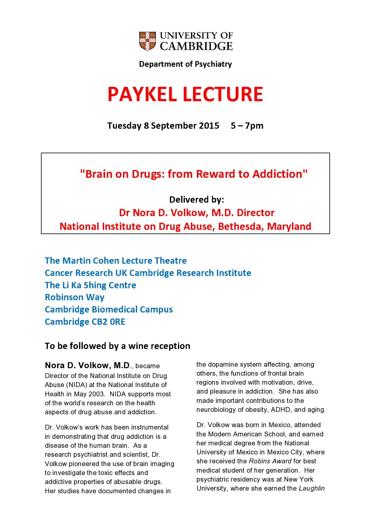 Paykel Lecture 2015 p1 - Department of Psychiatry